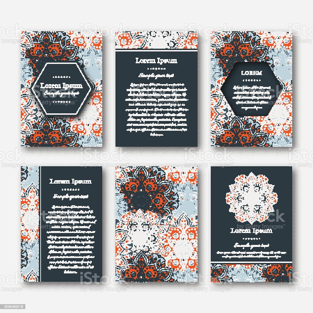Set Of Cards Flyers Brochures Templates stock vector art 628483518 – Flyers and Brochures Templates