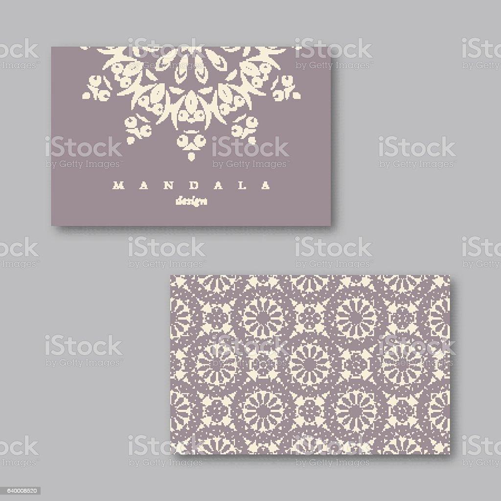 Set of cards, flyers, brochures, templates with mandala pattern. vector art illustration