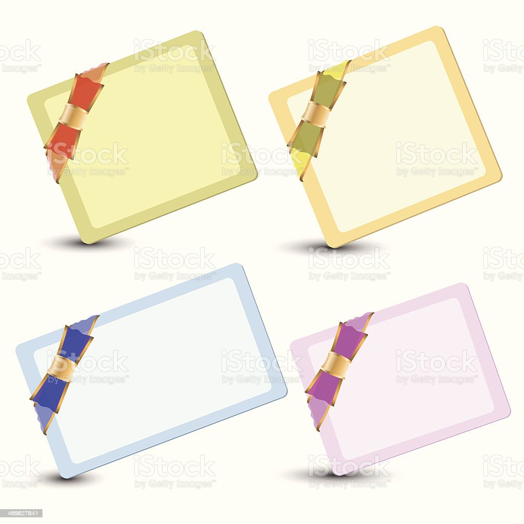 set of cards with ribbons royalty-free stock vector art