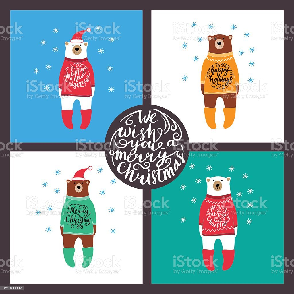 set of cards with the bears. Christmas. royalty-free stock vector art