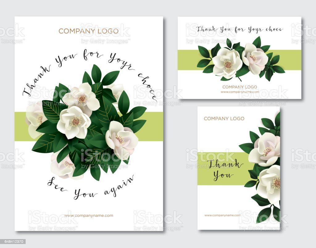 A set of cards with the words of gratitude. Design template card for the hotel, beauty salon, spa, restaurant, club vector art illustration