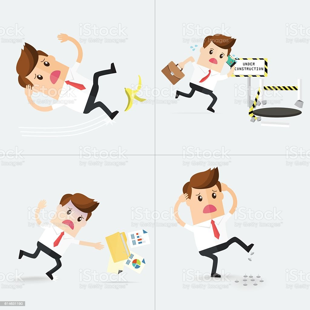 set of careless business man has accident vector art illustration