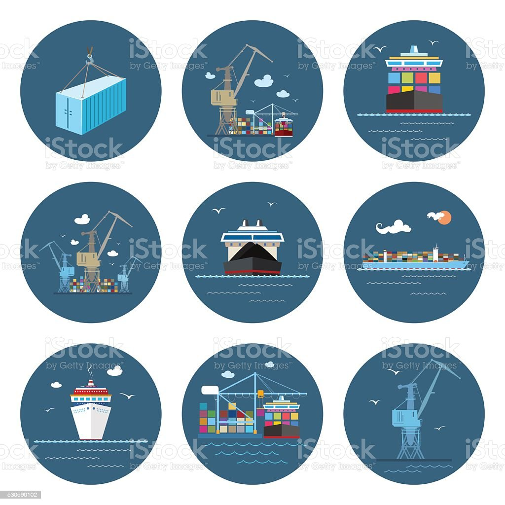 Set of Cargo Icons, Freight Transportation vector art illustration