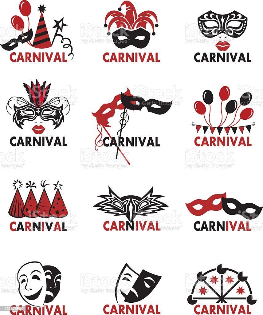 set of carnival logos vector art illustration