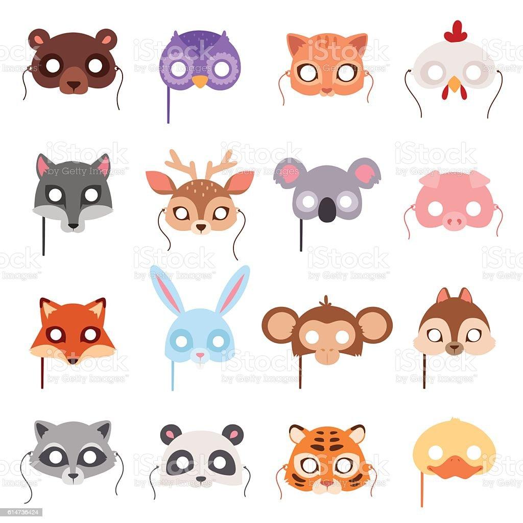 Set of cartoon animals party masks vector. vector art illustration