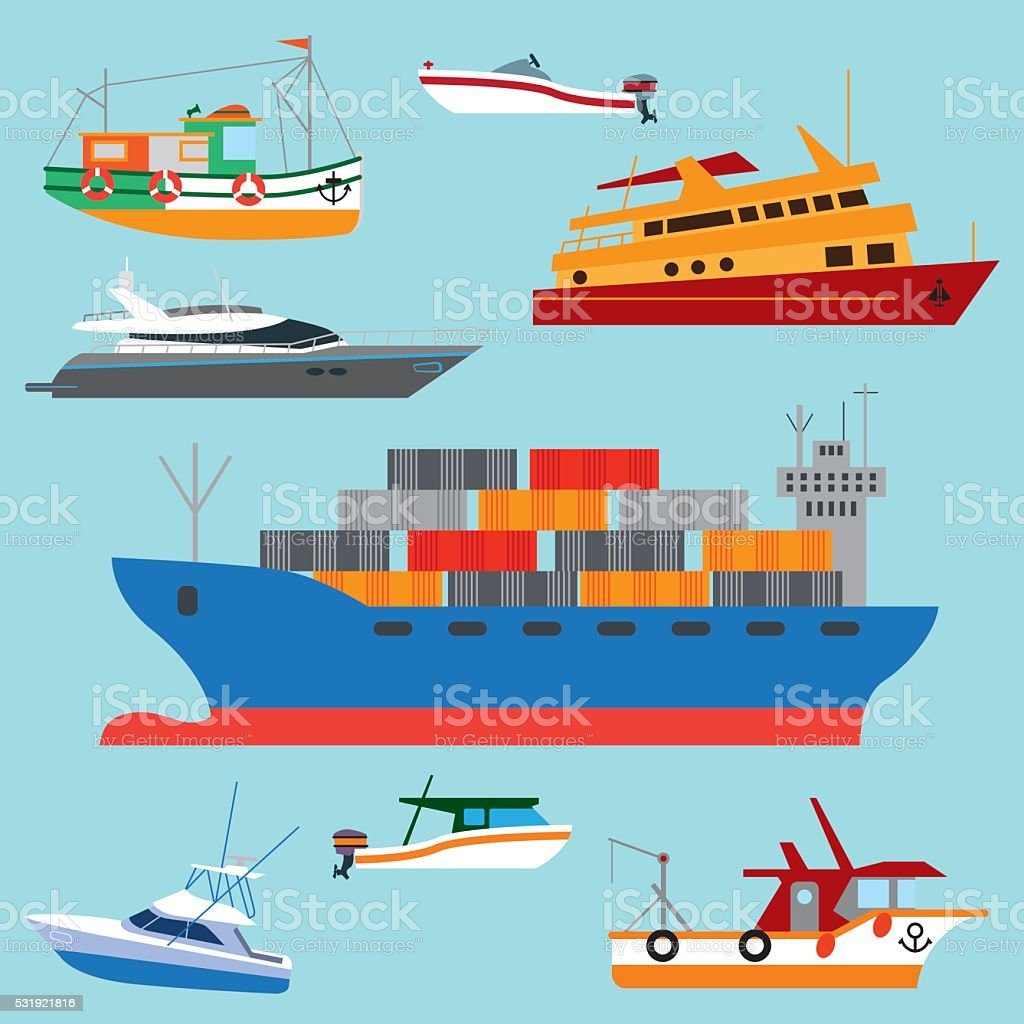 Set Of Cartoon Boats and Ships vector art illustration