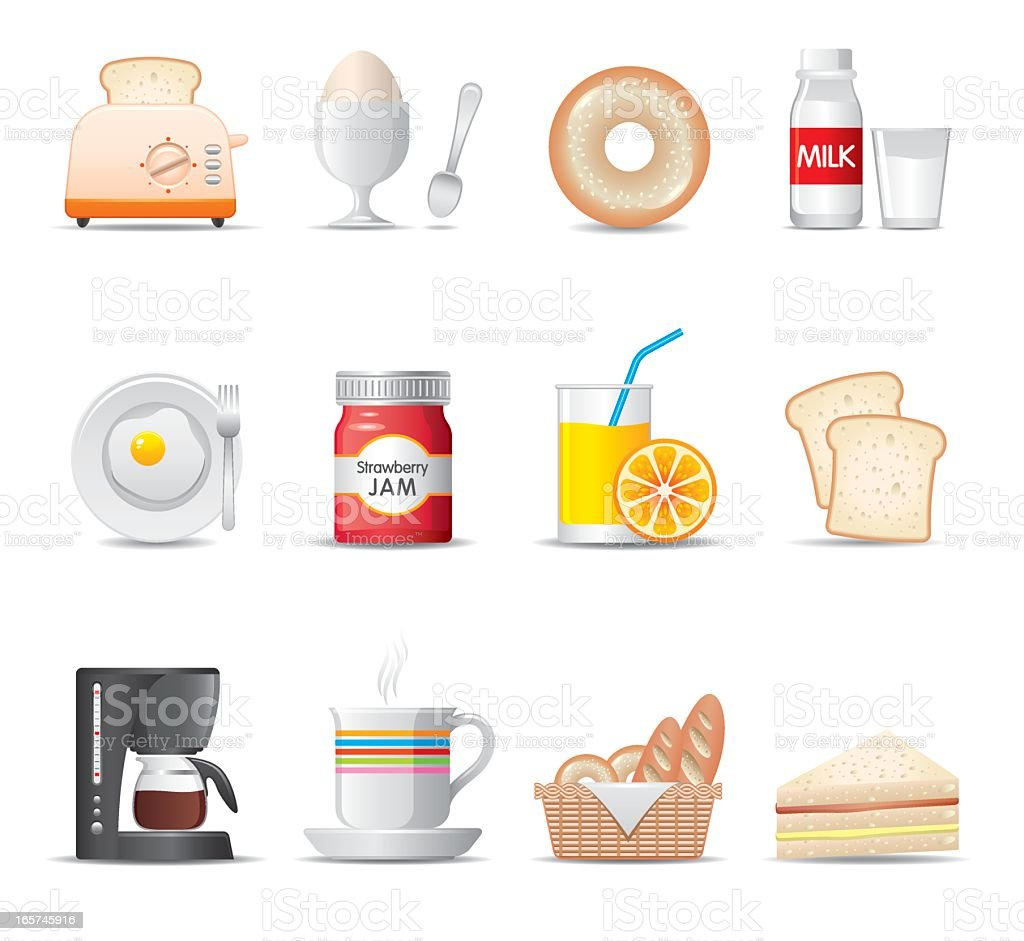 Set of cartoon breakfast food icons vector art illustration