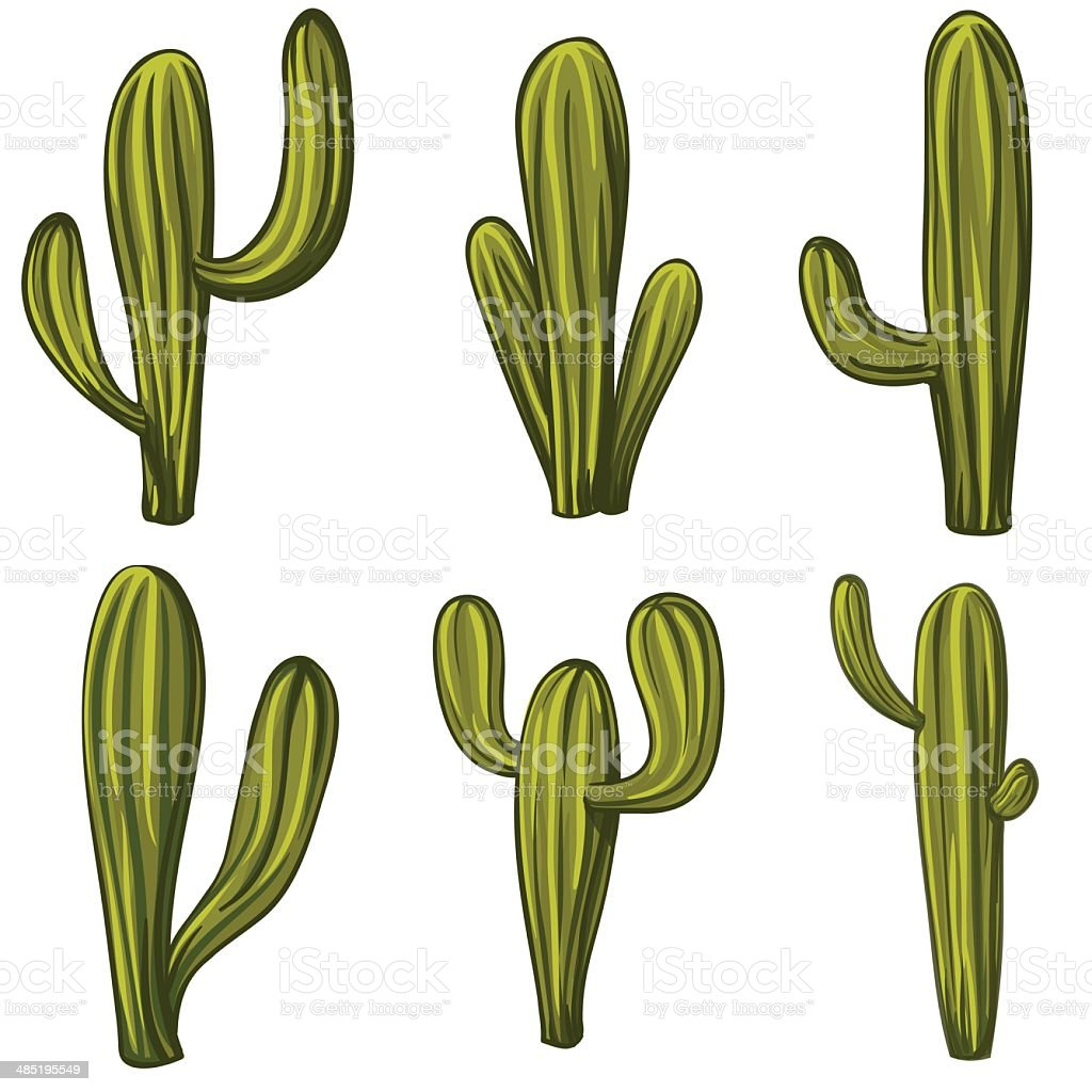Set of cartoon cacti vector art illustration