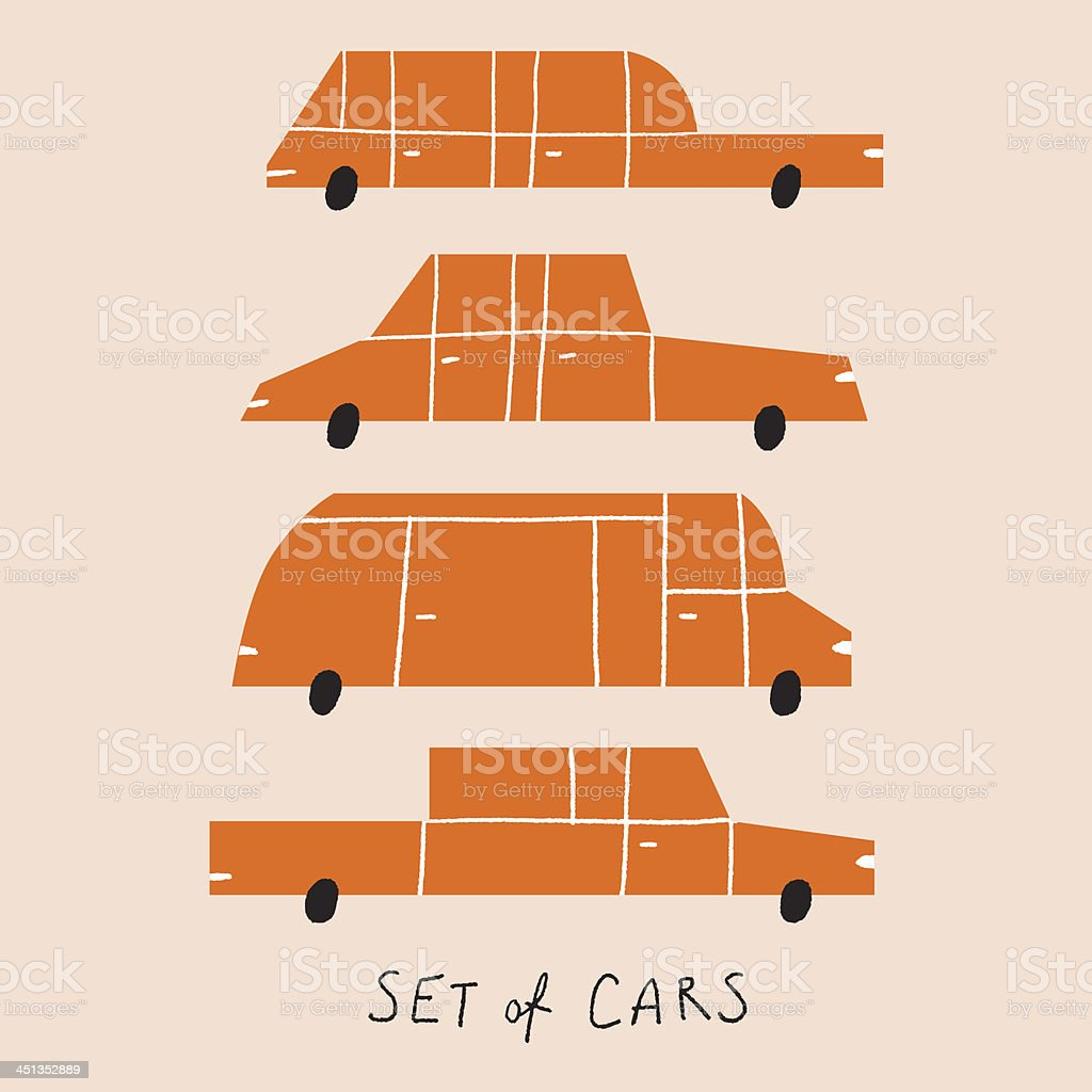 Set of cartoon cars royalty-free stock vector art