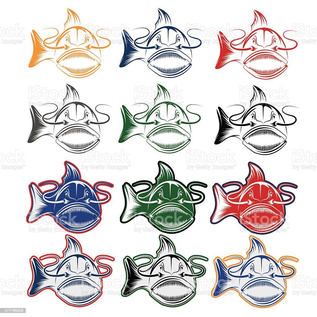 set of cartoon catfish mascot vector art illustration