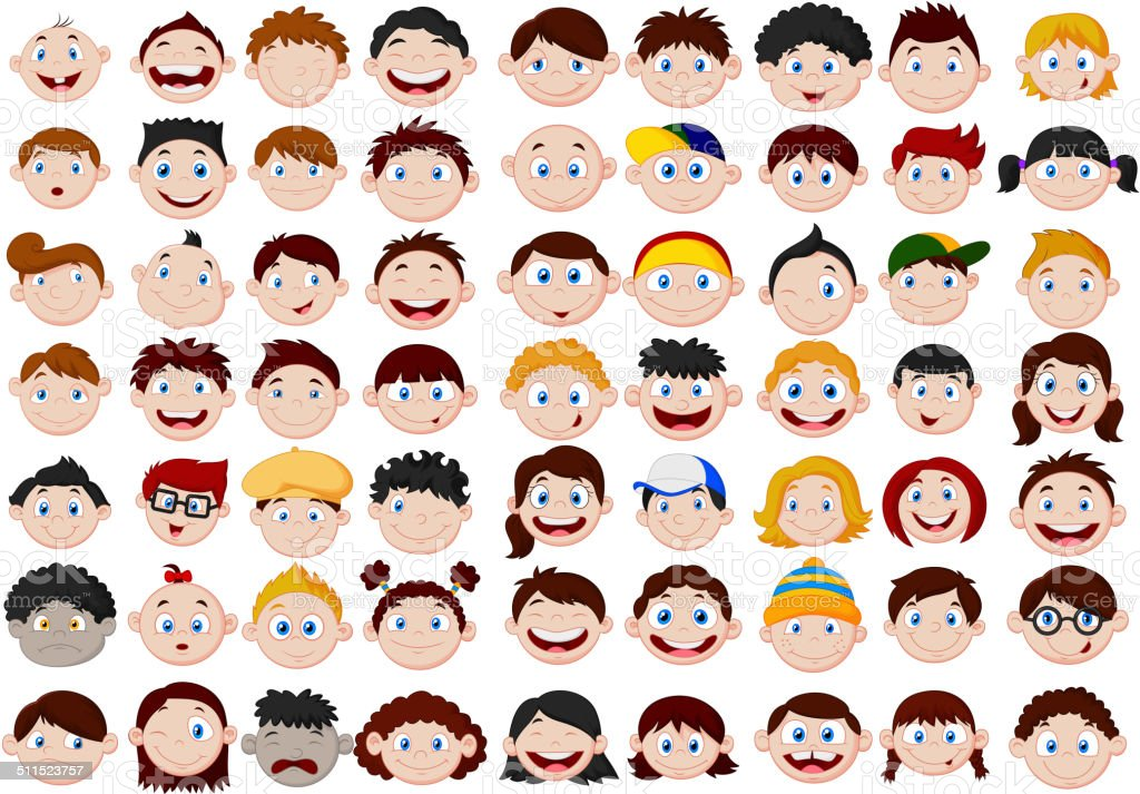 Set of cartoon children head vector art illustration