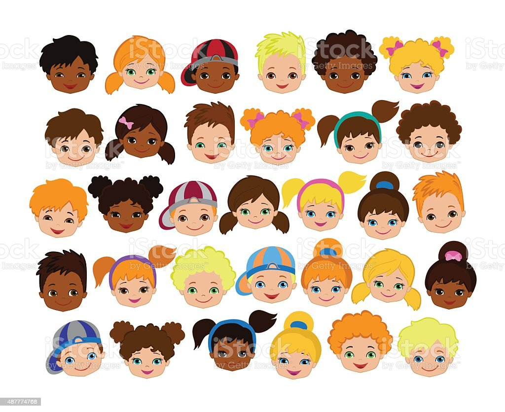 Conjunto De Dibujos Animados Caras De Los Niños Icono De ...