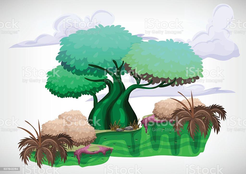 Set of cartoon colored tree vector art illustration