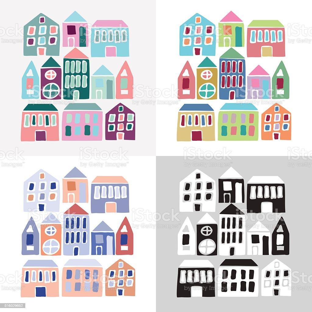 Set of cartoon colorful houses vector art illustration