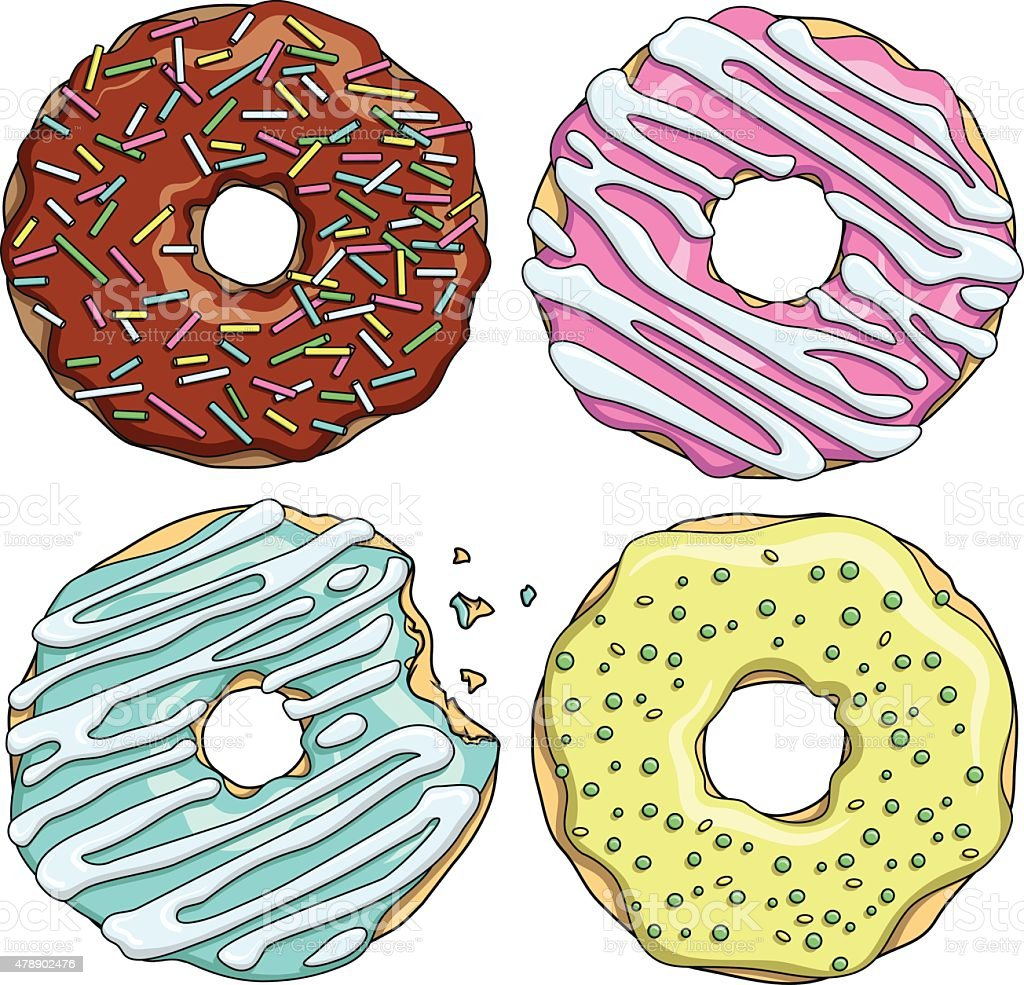 Set of cartoon colorful tasty donuts on the white background vector art illustration