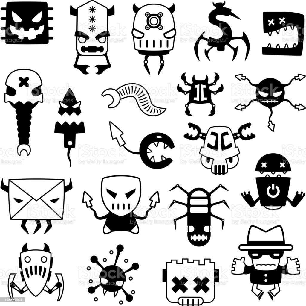 set of cartoon computer viruses silhouettes royalty-free stock vector art