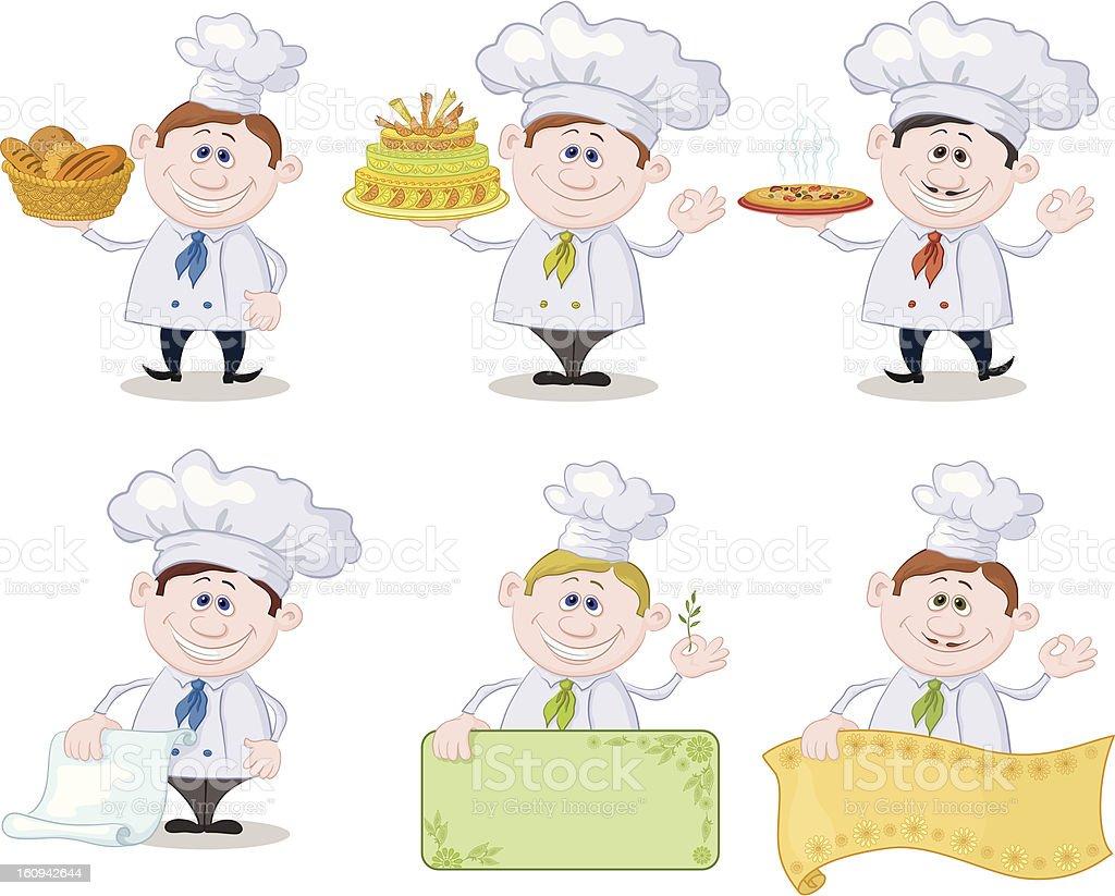Set of cartoon cooks, chefs royalty-free stock vector art