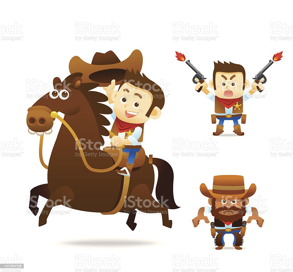 Set of cartoon cowboy characters over a white background vector art illustration