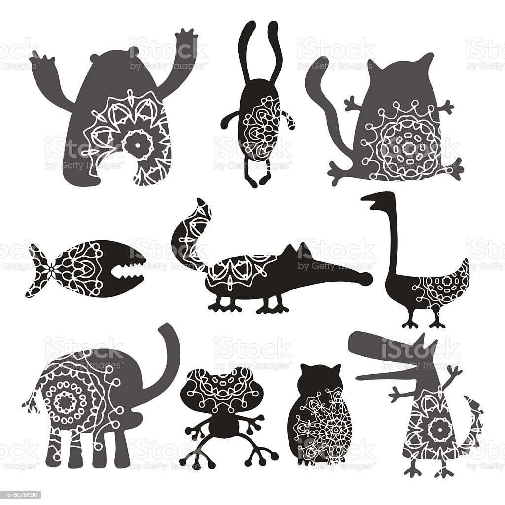 set of cartoon cute monsters royalty-free stock vector art