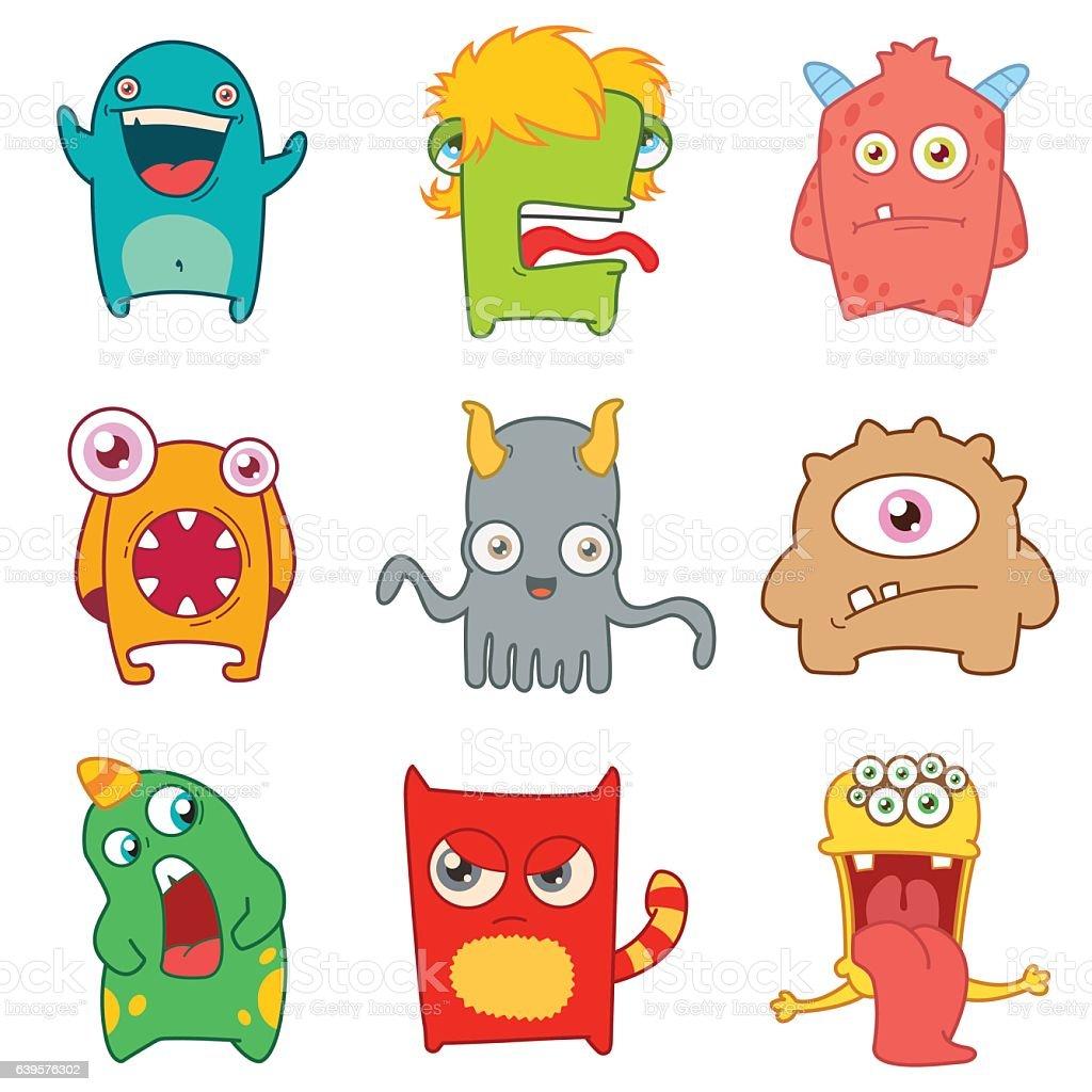 set of cartoon cute monsters vector art illustration