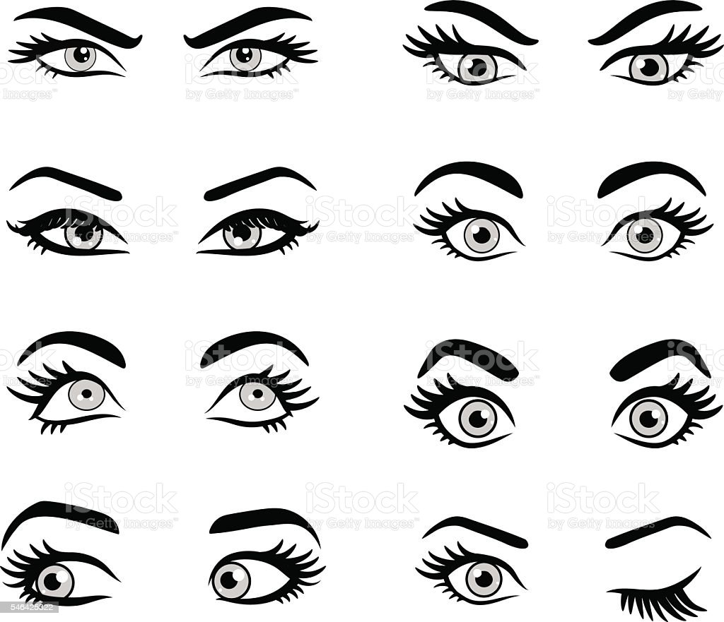 Set of cartoon eyes. vector art illustration