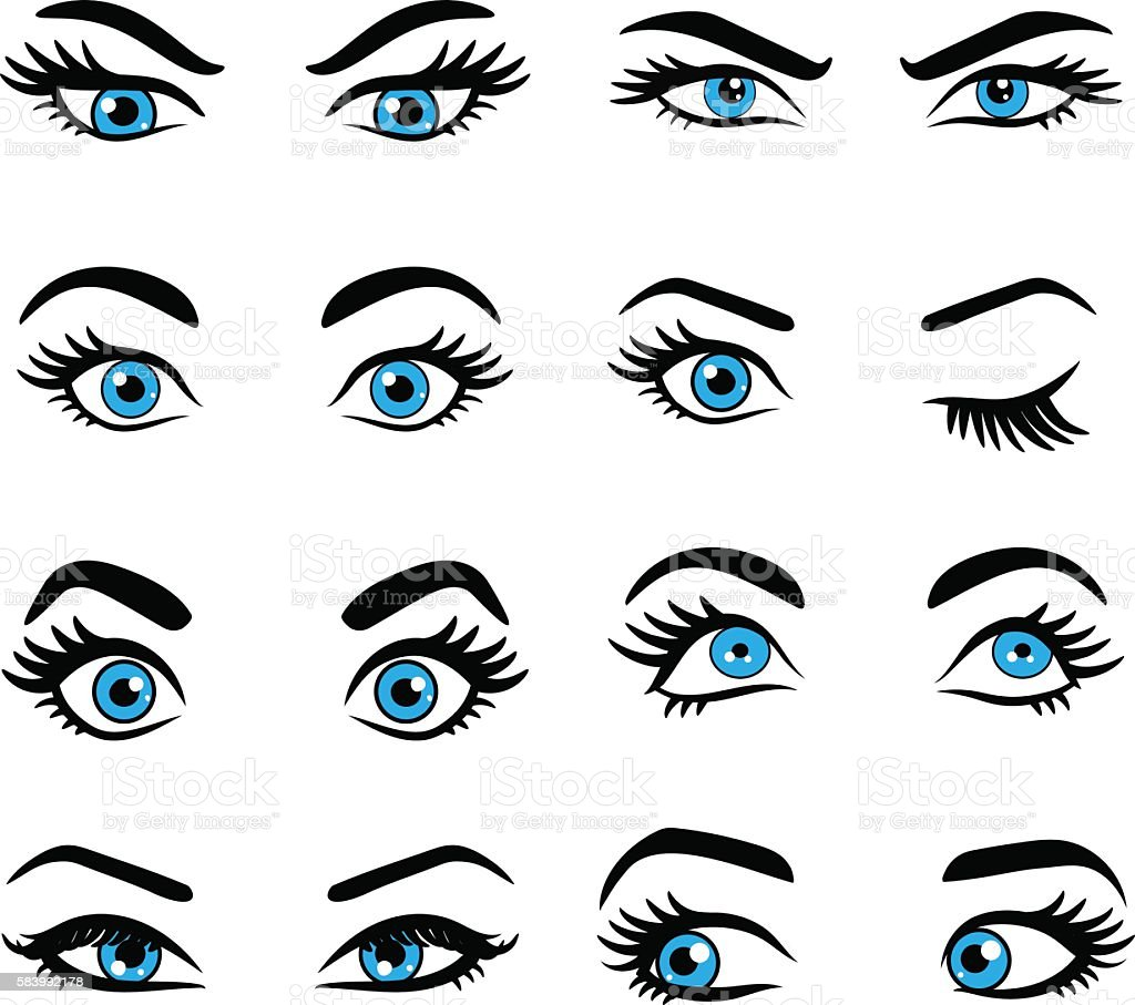 Set of cartoon eyes. vector art illustration