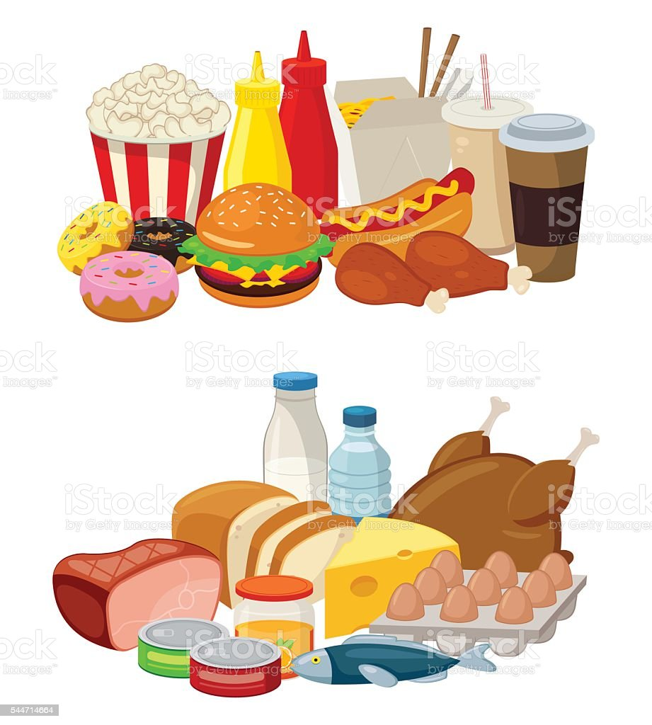 Set of cartoon food and drinks for restaurant or commercial. royalty-free stock vector art