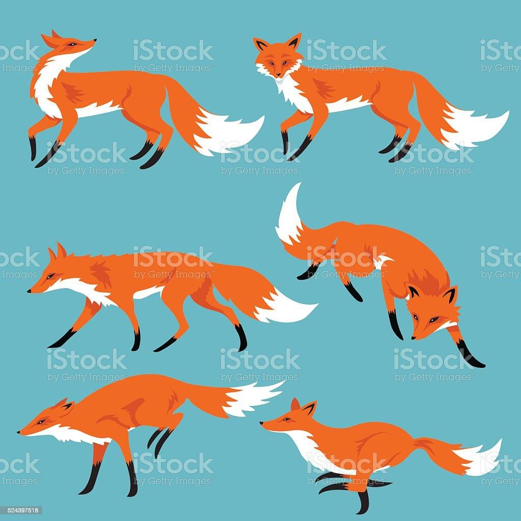 Set Of Cartoon Foxes On Blue Background vector art illustration