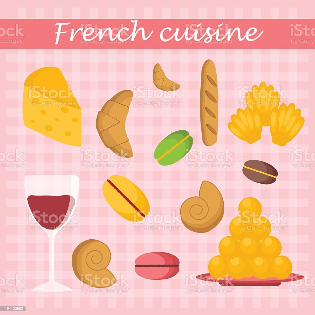 Set of cartoon french food objects vector art illustration