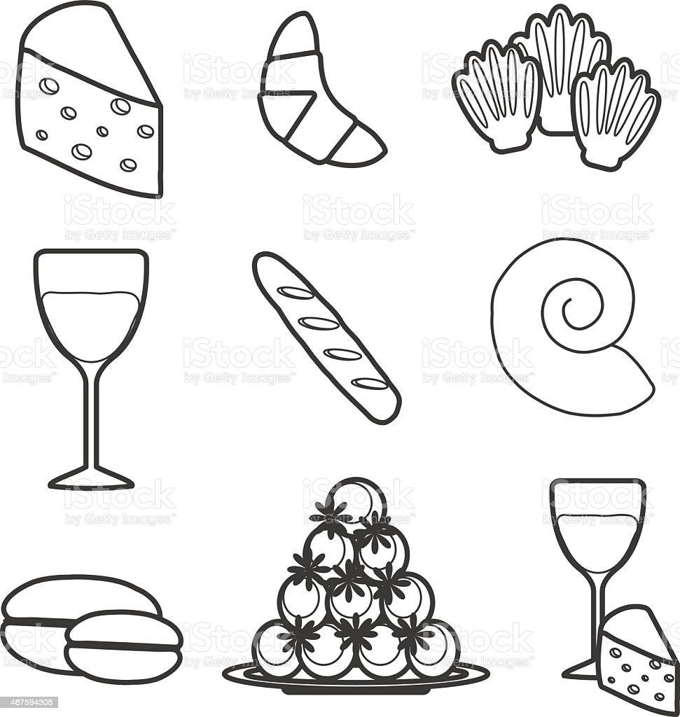 Französische küche comic  Eingestellt Von Comicfranzösische Küche Objekte Vektor ...
