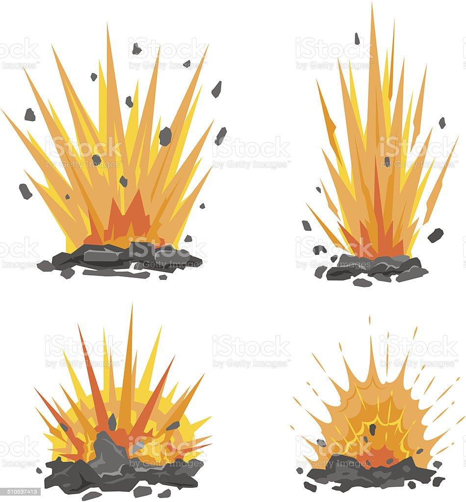 Set of cartoon ground explosions vector art illustration