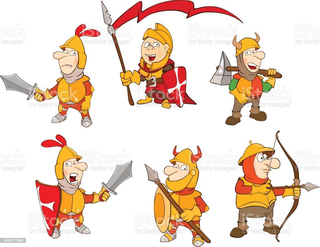 Set of Cartoon Illustration Cute Knights vector art illustration
