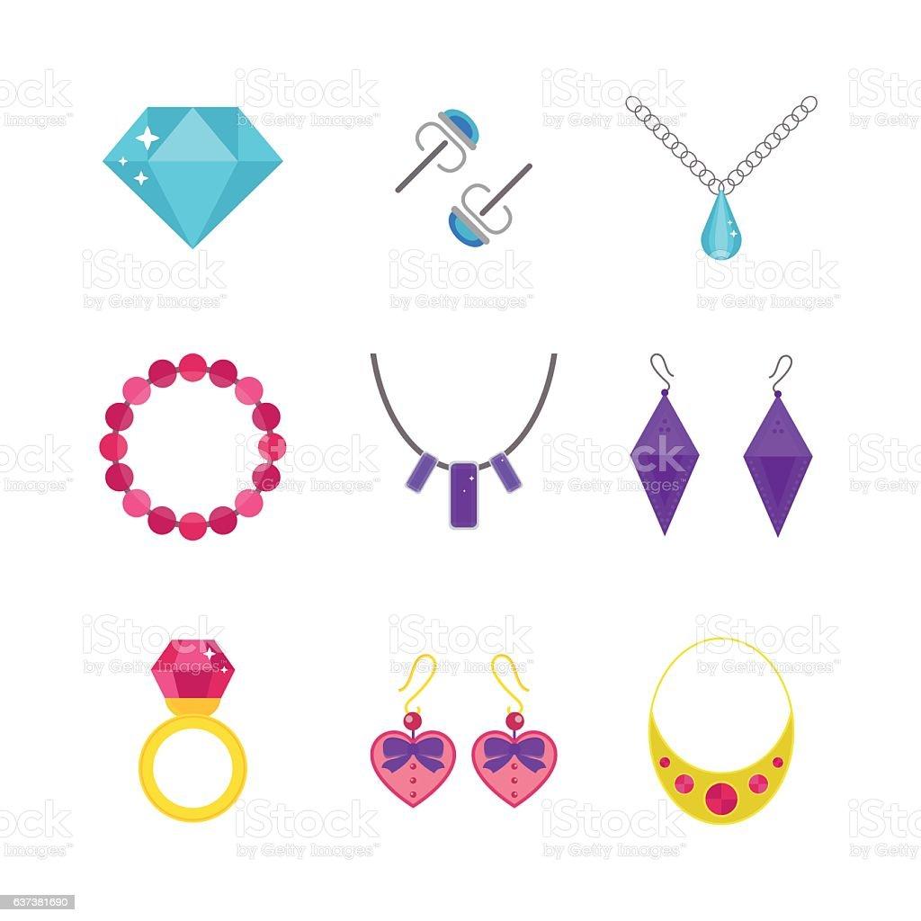 Set of cartoon jewelry accessories vector. vector art illustration