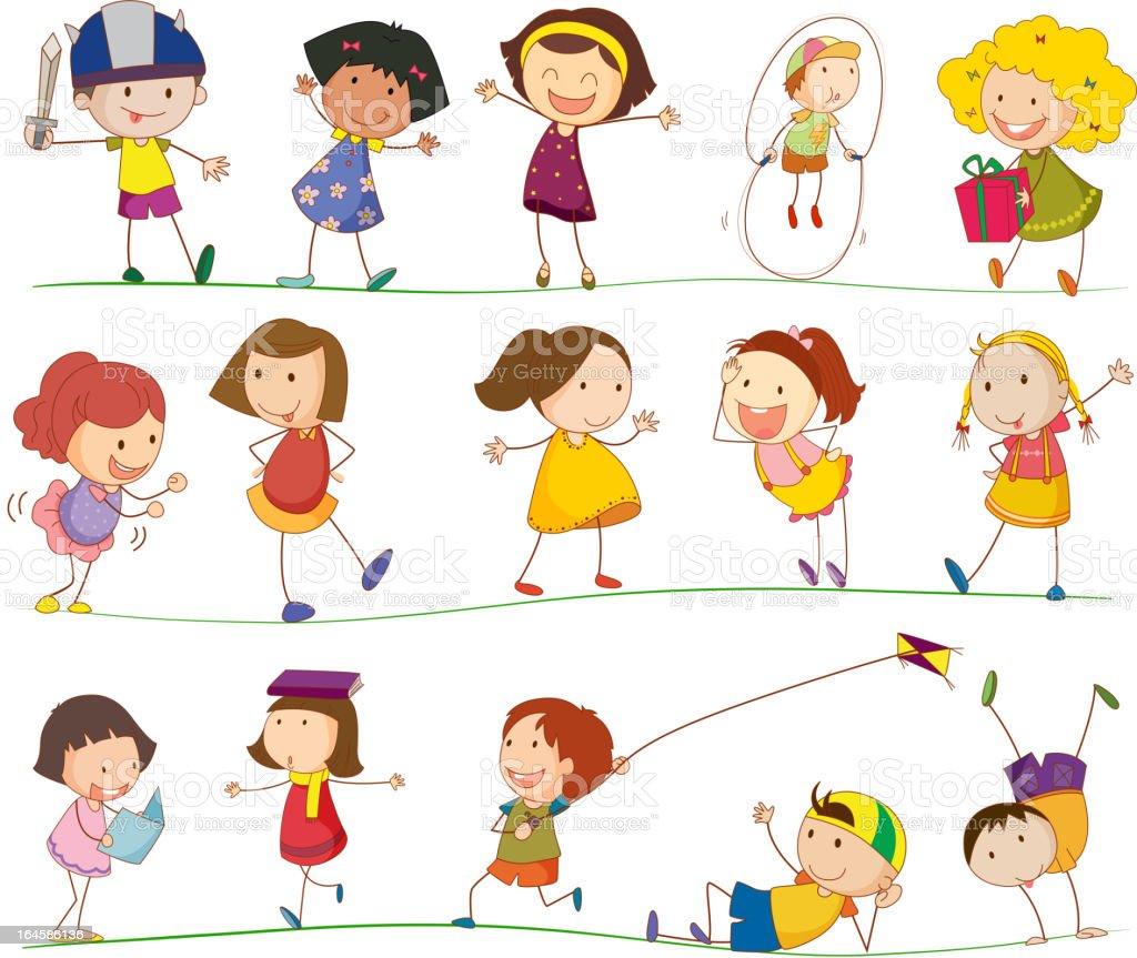 Set of cartoon kids outdoor entertainment royalty-free stock vector art