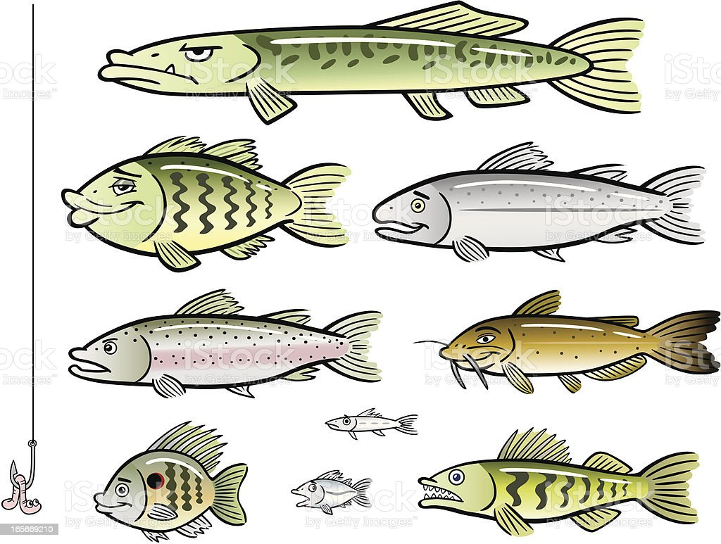 Set of Cartoon Lake Fish vector art illustration
