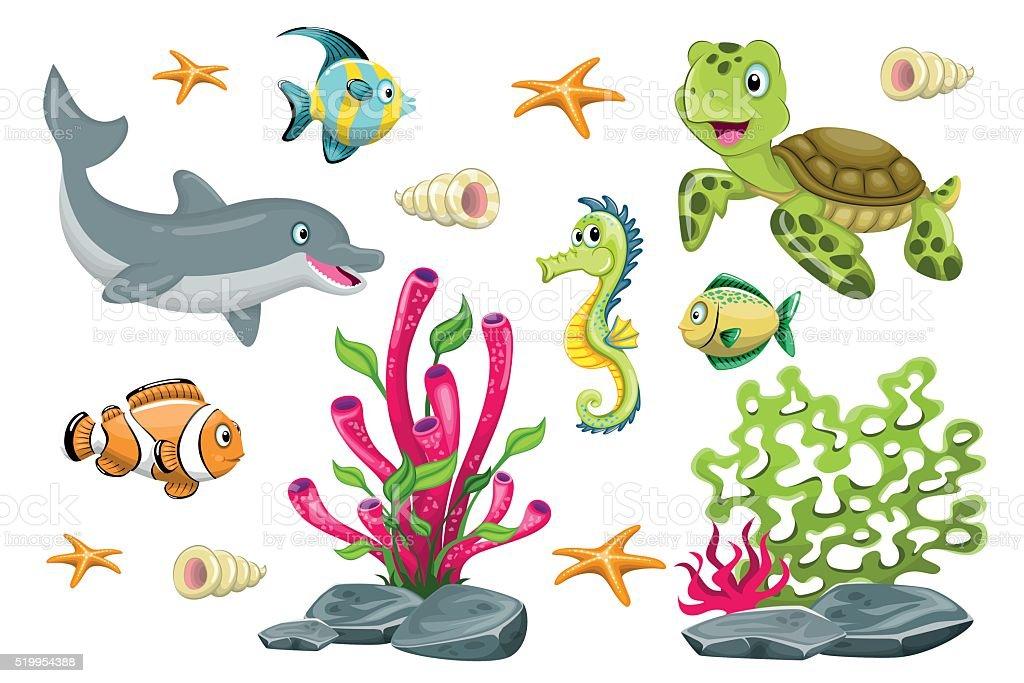 Ein satz von comic meerestiere vektor illustration - Clip art animali marini ...