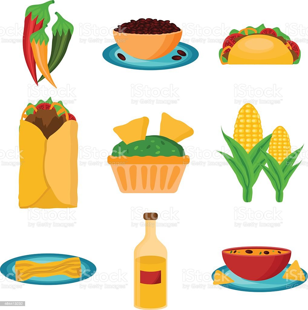 Set of cartoon mexican food vector art illustration