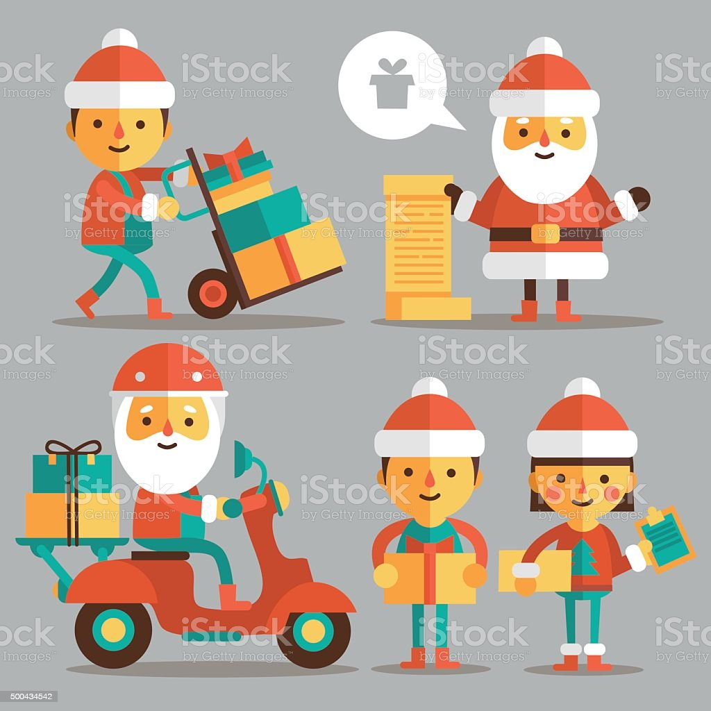 Set of cartoon Santa Clauses in a flat style. vector art illustration
