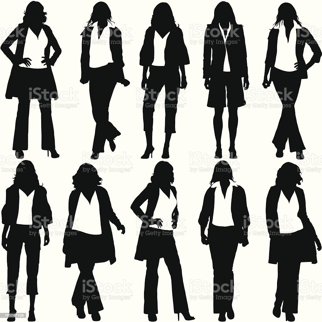 A set of cartoon silhouettes of a woman in different poses vector art illustration