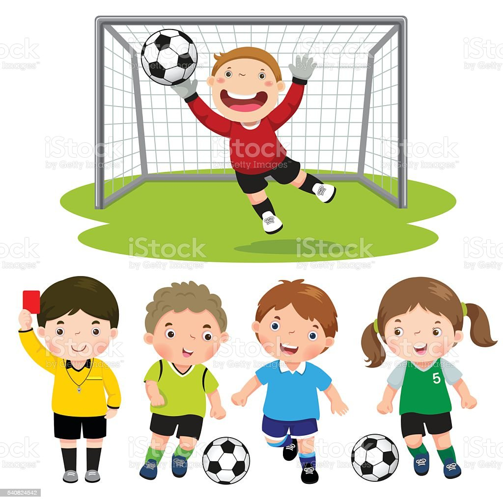 set of cartoon soccer kids with different pose stock