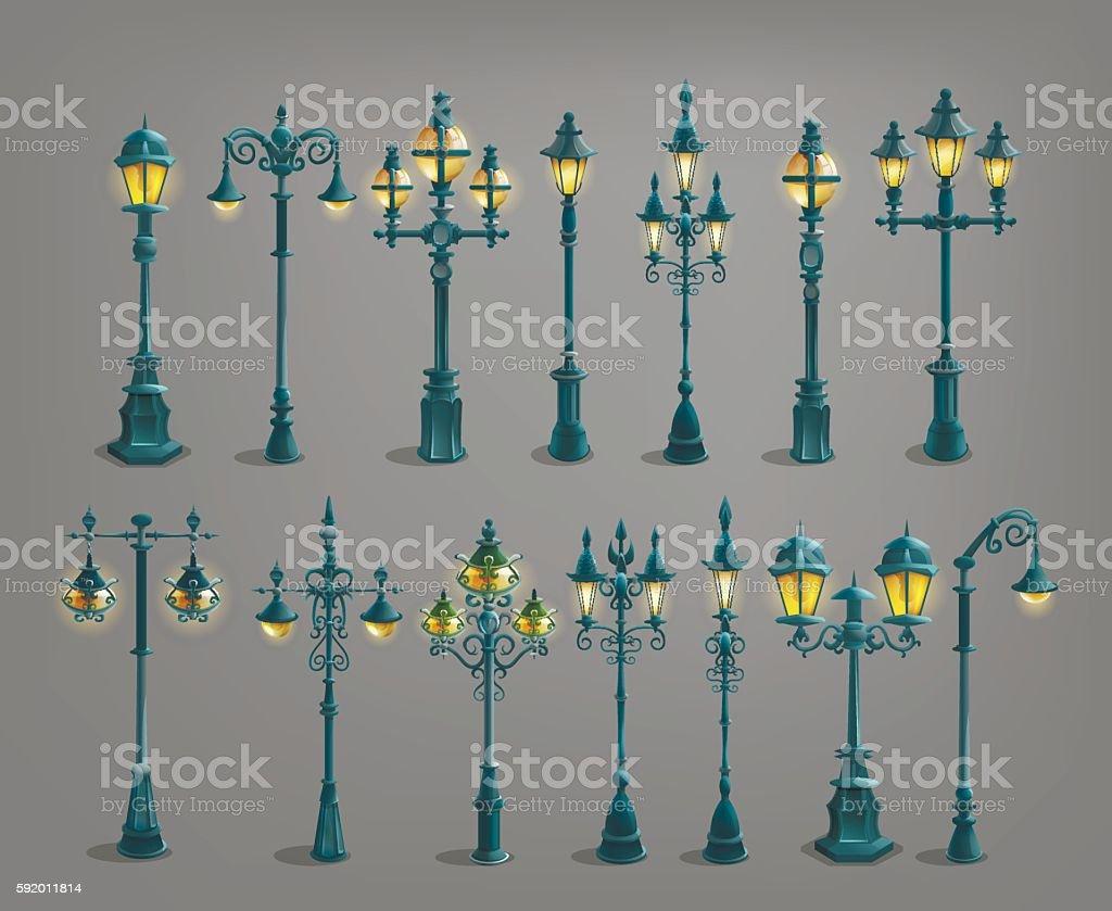 Set of cartoon street light . Vector illustration. vector art illustration
