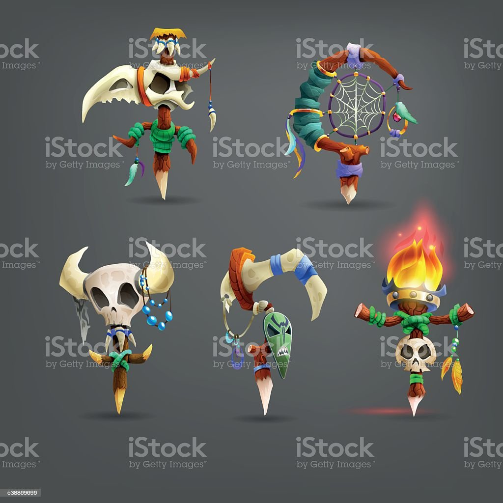 Set of cartoon totems for the game. Vector illustration. vector art illustration