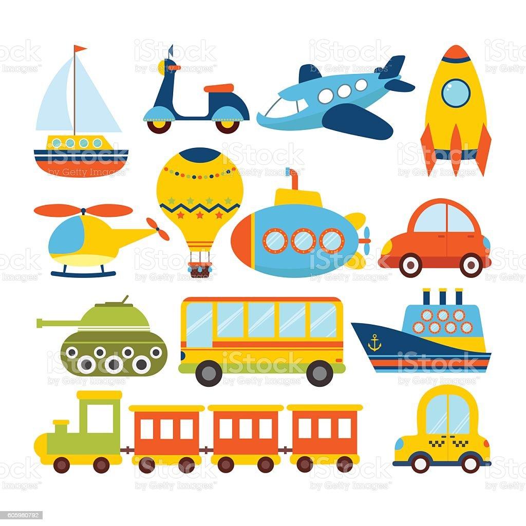 Set of cartoon transport. Transportation theme vector art illustration