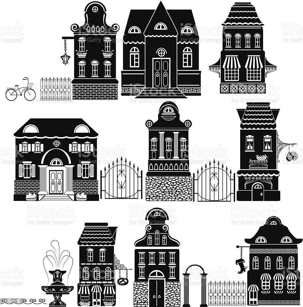 Set of Cartoons houses isolated on white background. royalty-free stock vector art