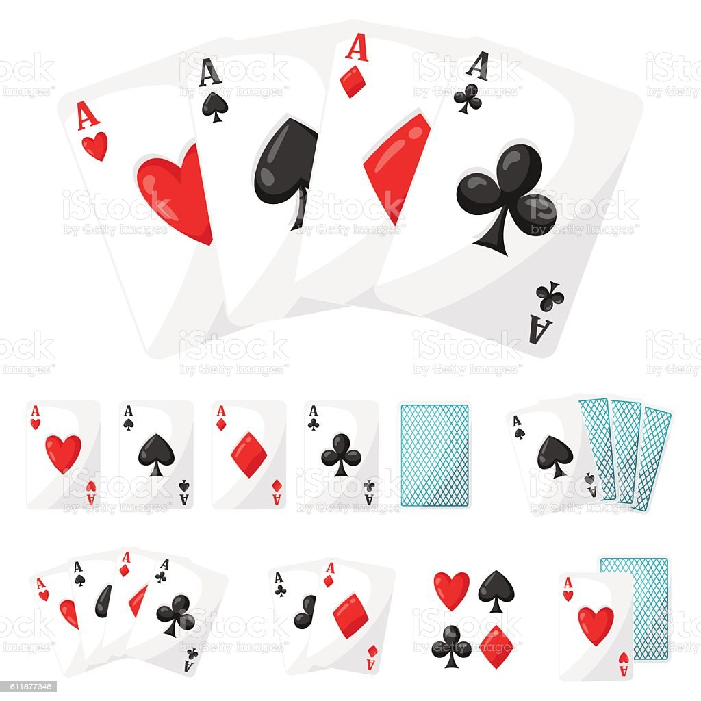Set of casino gambling aces cards for design vector art illustration