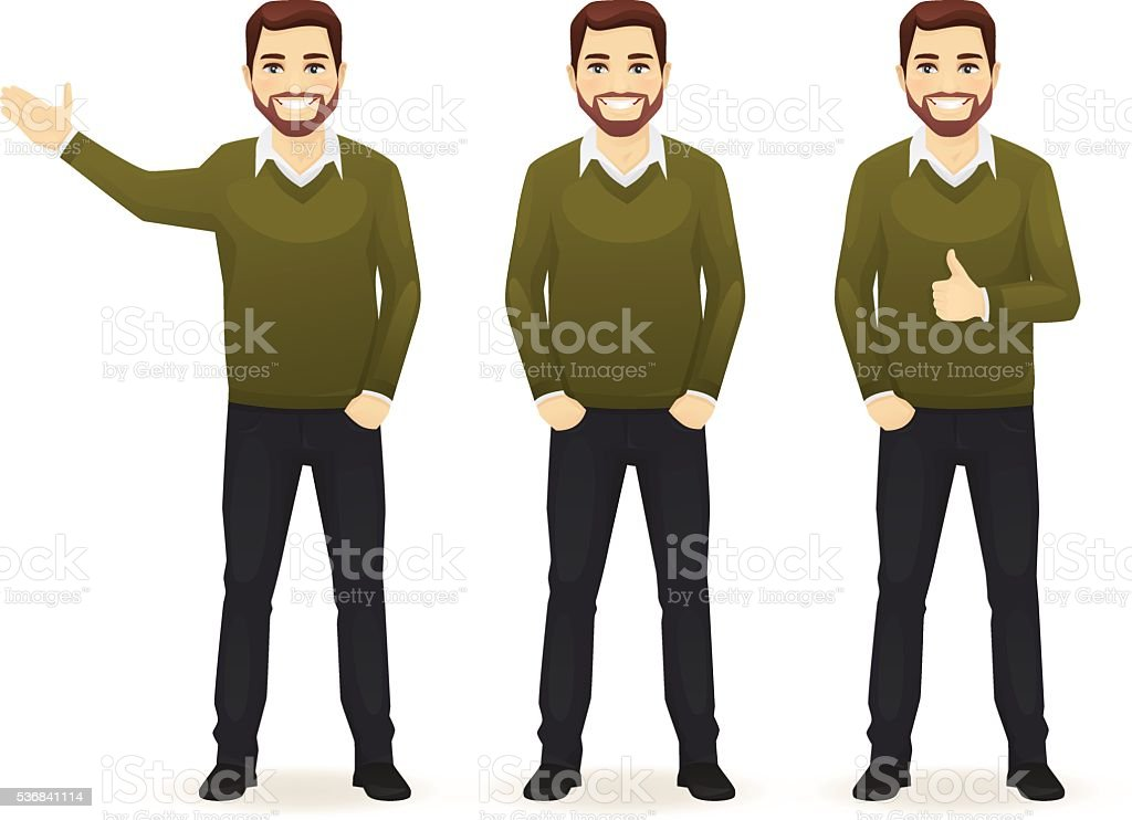 Set of casual business man vector art illustration