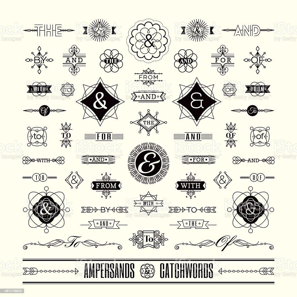 Set of catchwords ampersands in geometric shape retro vintage frame vector art illustration