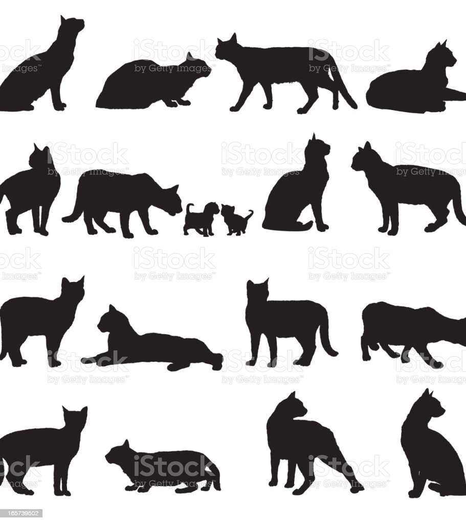 Set of cats silhouette on white background vector art illustration