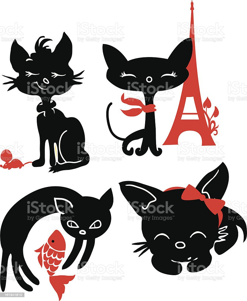 Set of cats silhouettes royalty-free stock vector art