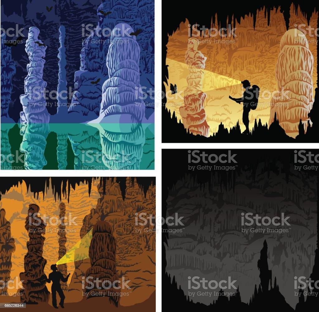 set of cave illustrations vector art illustration